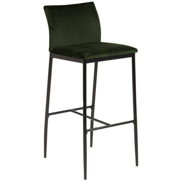 Demina design bárszék, olivazöld, fekete fém láb