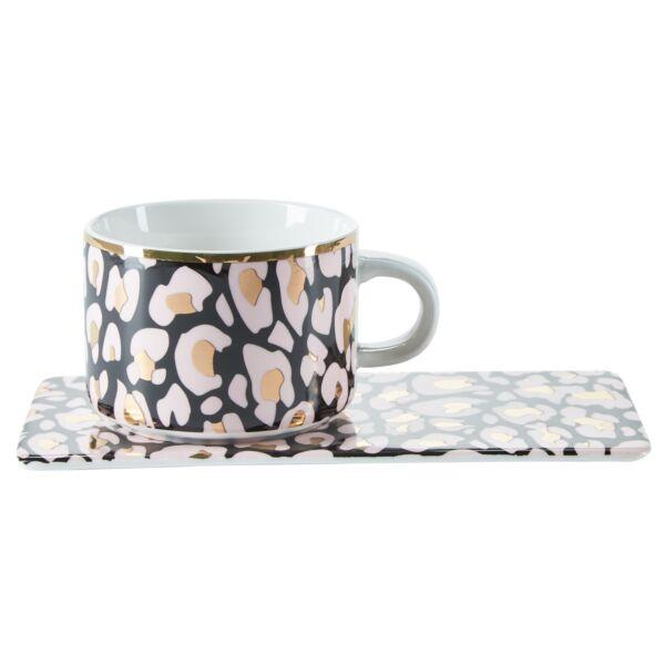 Animal kávésbögre tányérral, multicolor