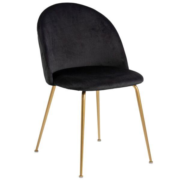 Louise design szék, fekete bársony, sárgaréz láb