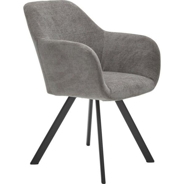 Sidora design szék, sötétszürke, fekete fém láb