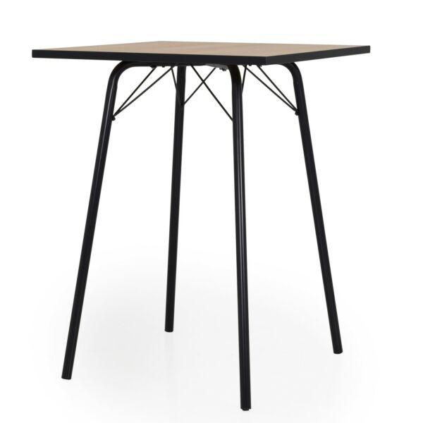 Flow bárasztal, tölgy/fekete, 80x80 cm