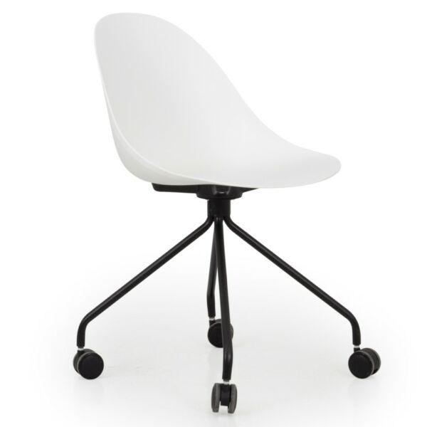 Work irodai szék, fehér, fekete fém láb