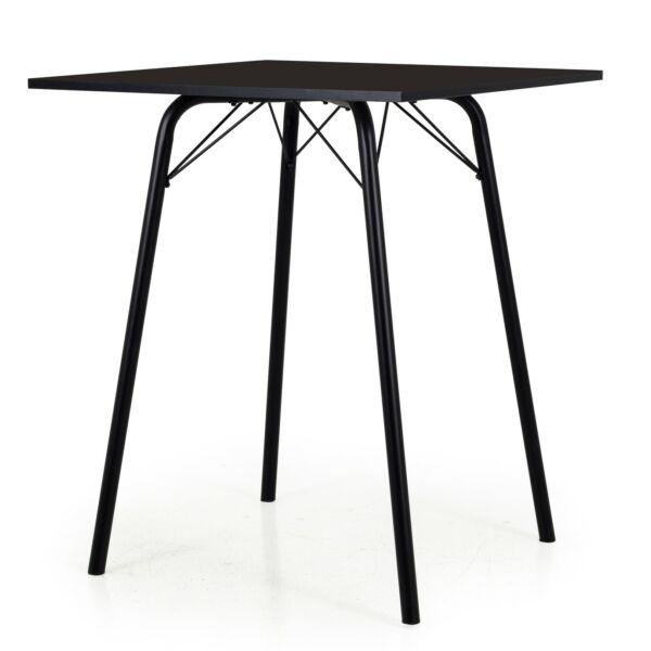 Bar asztal, fekete, 80x80 cm