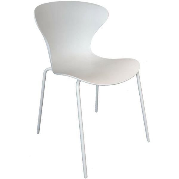 Heir szék, fehér, fehérre festett fém láb
