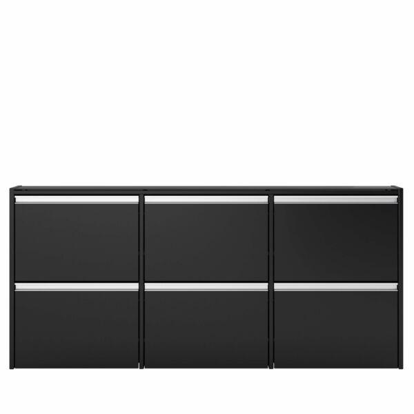 Skyline cipősszekrény, fekete, 6 ajtós