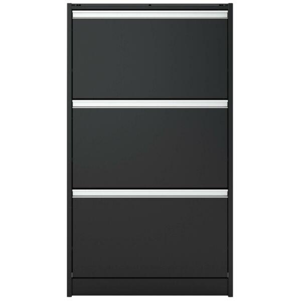 Skyline cipősszekrény, fekete, 3 ajtós