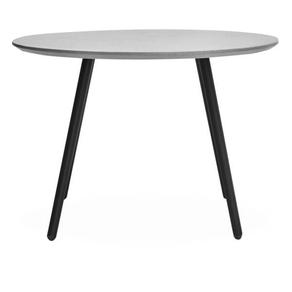 Galway kerti asztal kerek, beton asztallap, fekete fém láb