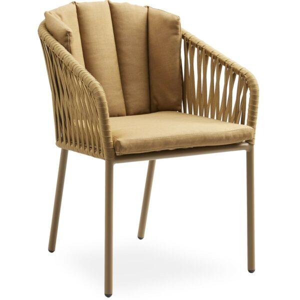 Ella kerti szék, okkersárga olefin párna, sárga fém láb
