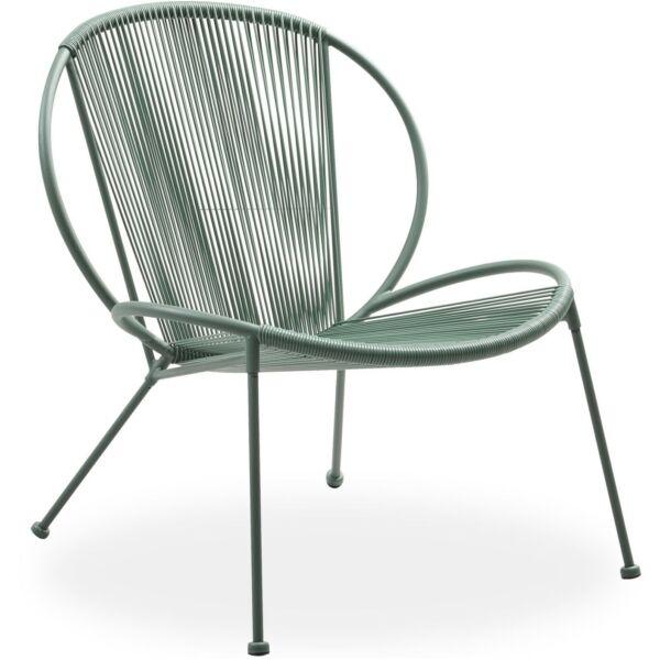 Milana kerti fotel, zöld, fekete fém láb