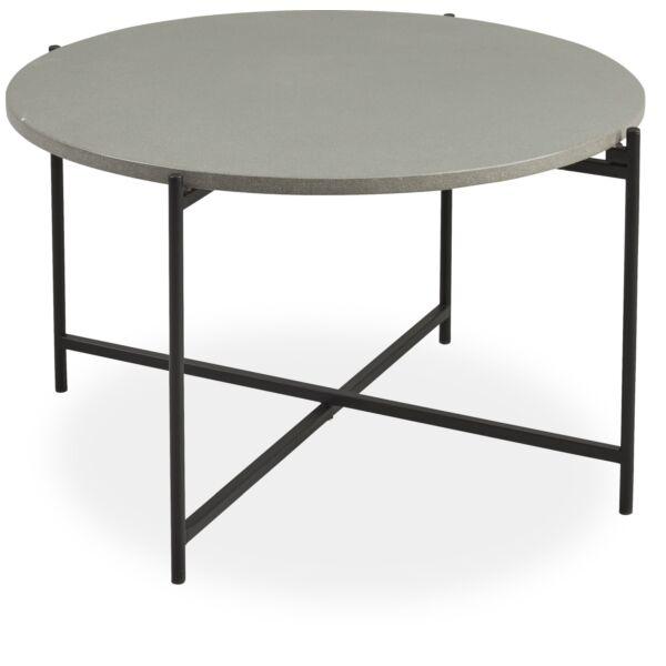 Avisa kerti lerakóasztal, cement, fekete fém láb, D80 cm