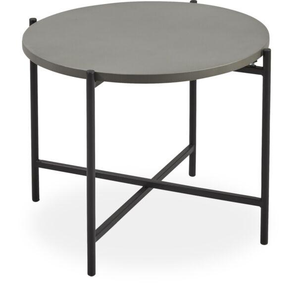 Avisa kerti lerakóasztal, cement, fekete fém láb, D53 cm