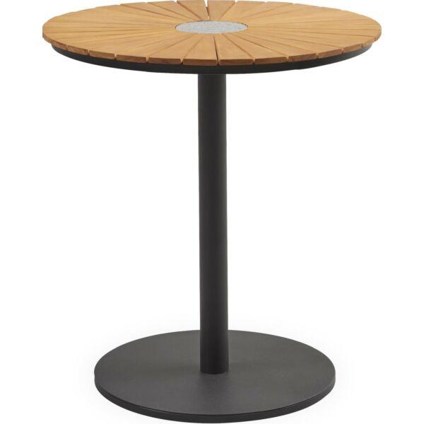 Pietra kerti asztal, natúr eukaliptusz, gránit betét, matt fekete fém láb