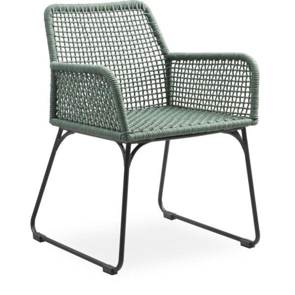 Atlana kerti szék, zöld, fekete porszórt fém láb