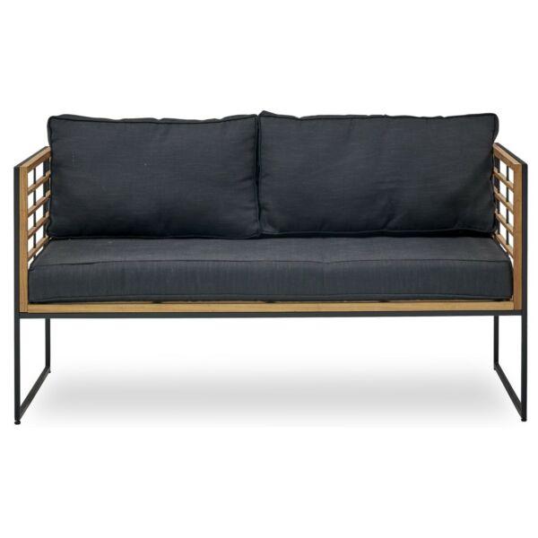 Vega kerti kanapé, sötétszürke, natúr tíkfa, matt fekete fém váz