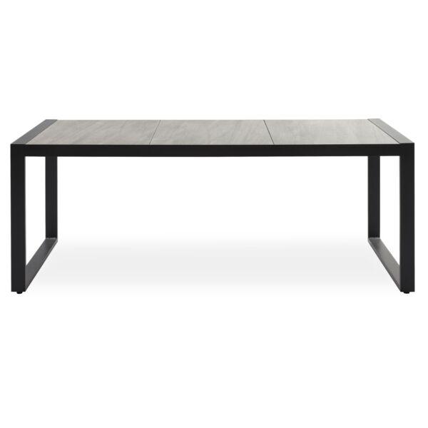 Seri kerti asztal, szürke kerámia asztallap, fekete fém váz