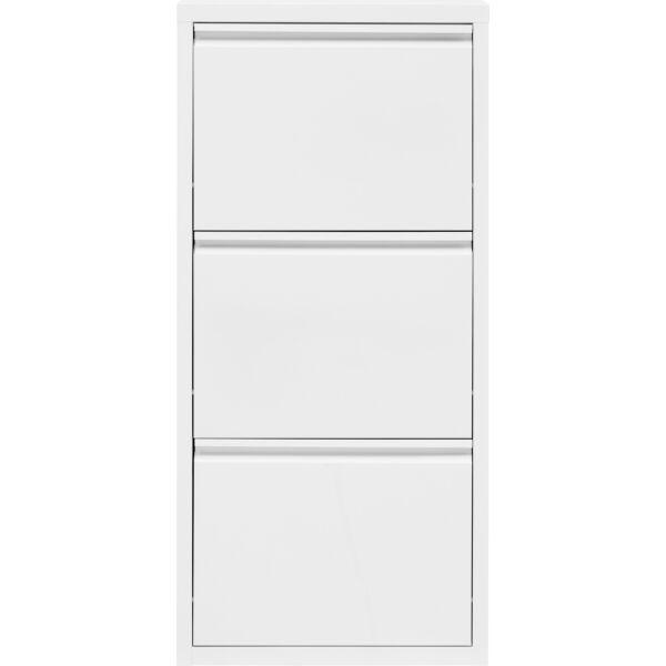 Home cipősszekrény, fehér, 3 ajtós, fém