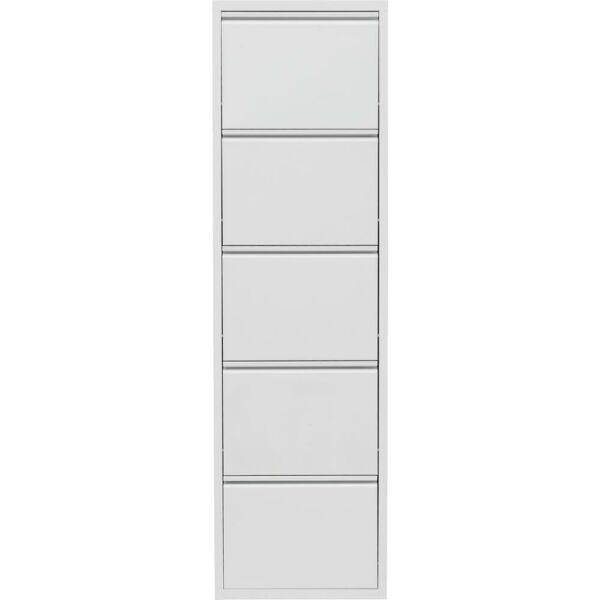Home cipősszekrény, fehér, 5 ajtós, fém