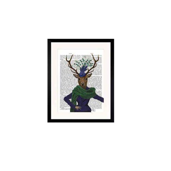 Szarvas kalappal kép, Lila 35x45 cm