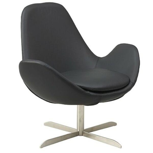 Curve alacsony fotel, fekete bőr