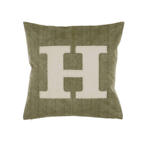 Letter H díszpárna, zöld/natúr