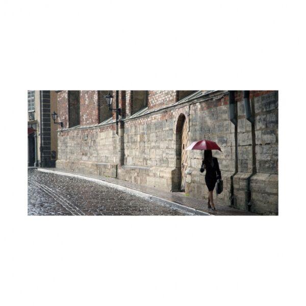 A piros esernyős nő kép, 140x70cm