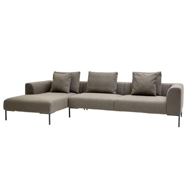 Vazzola kanapé, balos ottománnal, világosszürke szövet