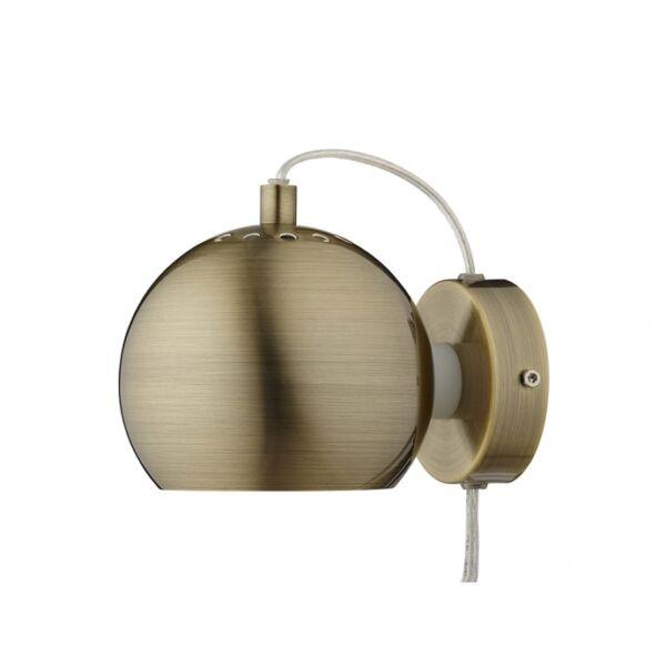 Ball fali lámpa, antik sárgaréz