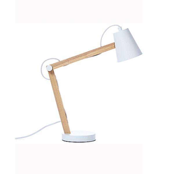 Play asztali lámpa, kőrisfa/fehér fém