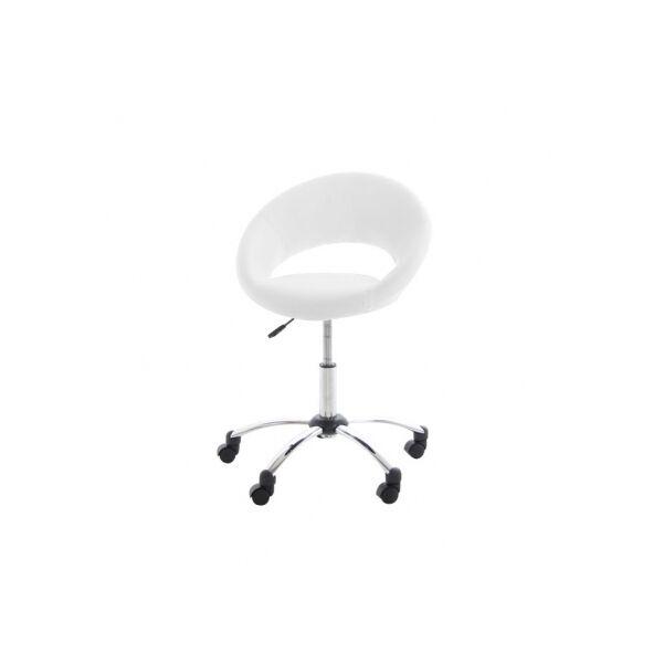 Plump irodai design szék, fehér textilbőr