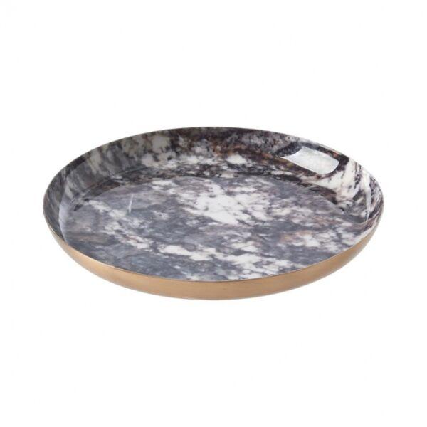 Yago tál, zöld márvány/Sárgaréz fém