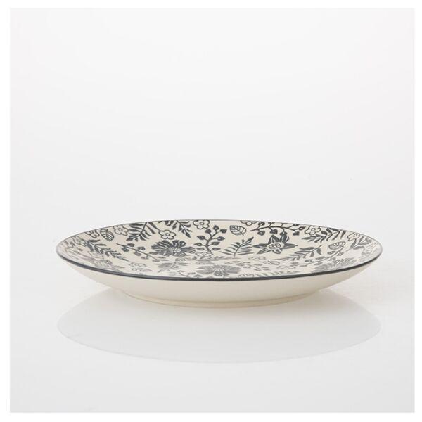 Krém színű desszertes tányér fekete virágokkal