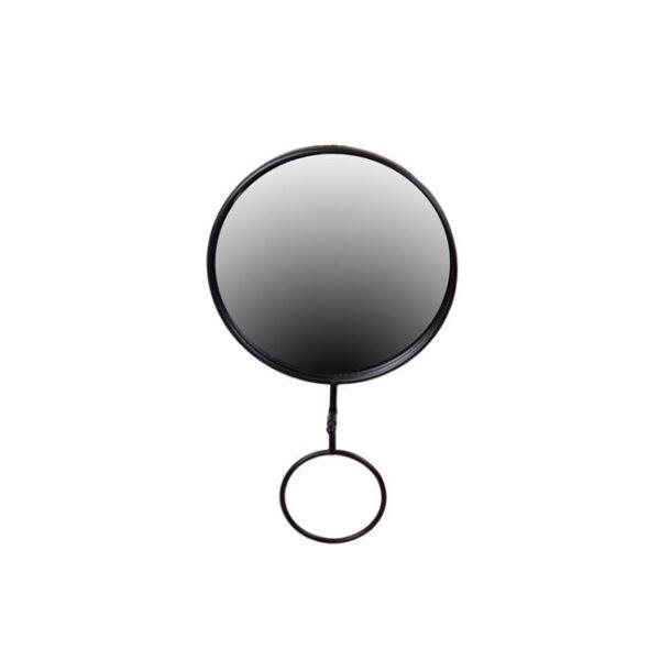 Ring tükör, fekete kerettel, törölközőtartóval, 25x39