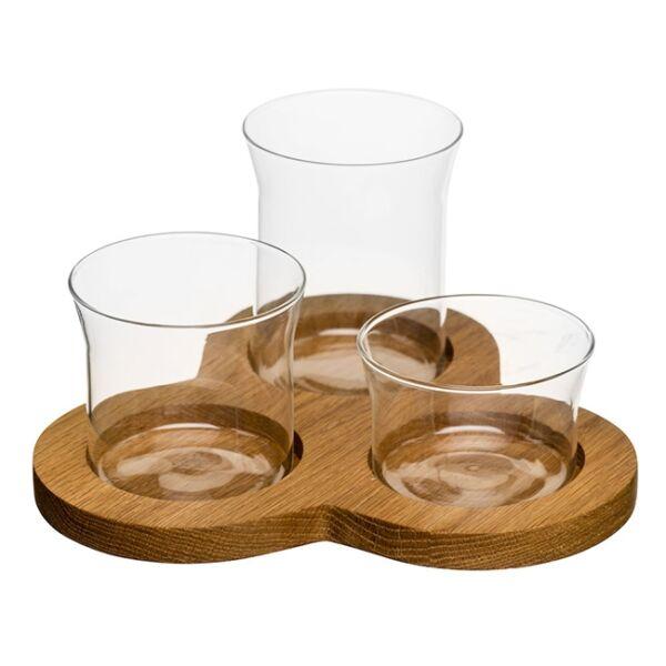 Szervírozó szett 3 részes, Tölgy/üveg